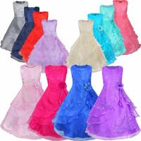 çocuklar için nedime elbiseleri toptan satış-Perakende Yeni Çiçek Kız Elbiseler Içinde Hoop ile Çiçek İşlemeli Parti Düğün Gelinlik Prenses Elbiseler Örgün Çocuk Giysileri