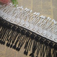 Wholesale Diy Doll Flowers - 15 Yard White Black Flower Tassel Cotton Lace Fabric Trim Ribbon For DIY Bridal wedding Doll Cap Hair clip