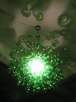 abat-jour en verre vert achat en gros de-Led Source 100% Soufflé À La Main En Verre Borosilicate Dale Chihuly Murano Art Champignon Conception Vert En Verre Abat-Jour