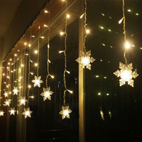 Wholesale Led Christmas Light Curtain Snowing - Wholesale- E27 Snow Shape 2M LED Curtain String 104 Leds 16 drop Lines Fairy light curtain icicle For Wedding Christmas Window Decoration