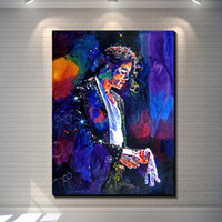 Wholesale Michael Jackson Wall Art - Vintage Abstract Colorful Michael Jackson creative posters painting pictures print on the canvas,Home Wall art decor canvas painting poster
