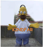 Wholesale Homer Simpson Mascot - Wholesale-Homer Mascot Costume Simpson Adult Size Fancy Dress Cartoon Character Outfit Suit Free Shipping