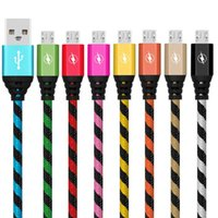 Wholesale notes fabric - New Thicker Braided Nylon fabric alloy 1m 3ft micro 5pin type c usb data sync charging cable for samsung s6 s7 s8 note 8 htc android phone 7