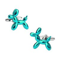 Wholesale Rabbit Balloons - Green balloon dog rabbit deer cufflinks Animal series High quality French free shipping3.33