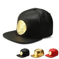 Wholesale Adjustable Cap Rhinestones - 2016 New style Faux Leather Gold Rhinestone Crocodile Baseball Caps Mesuda Snapback Hats Luxury hip hop hat for men women gift