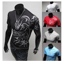 Wholesale Tattoos Lycra - T shirts for men Summer White t-shirt short sleeves fashion European style Render unlined upper garment tattoo Round collar T-shirt Black