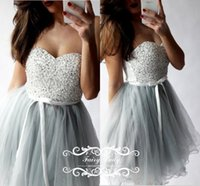 Wholesale Girl Mini Skirts Up Parties - White Top Silver Skirt 2017 Girls Short Homecoming Dresses With Ribbon Sash Shiny Beading Sequins A Line Junior Prom Dress Party Gowns