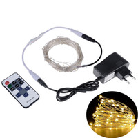 Wholesale oval led lighting 12v - LED String Lights 5M10M Outdoor Christmas Fairy Lights Warm White Silver Wire LED Starry Lights DC 12V Wedding Decoration