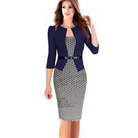 Wholesale Office Fashion Outfit - Wholesale-Fashion Women Retro Vintage Faux Two Piece Dress Elegant Lady Plaid Long Sleeve Pencil Dress Office Wear Outfits Plus Size S122