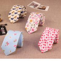 Wholesale Mens Ties 6cm - 17color new fashion designers mens women neck tie narrow slim 6cm cotton print flower floral gravatas ties for men 50pcs fedex