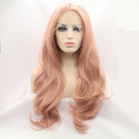 Fibra Resistente al Calor Glueless Natural Hairline Cuerpo Wave Hair Totalmente Pelucas para las Mujeres Mixto Pink Synthetic Lace Front Wig