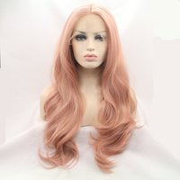 Fibra Resistente ao Calor Glueless Natural Hairline Body Wave Hair Totalmente Perucas para Mulheres Mixed Pink Synthetic Lace Front Wig