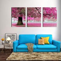 arte roxa da parede da flor da lona venda por atacado-Cópia da lona Arte Da Parede Pintura Para Casa Decoração Flores Roxas Na Árvore 3 Peças Painel de Arte A Imagem Para Sala de estar Decoração