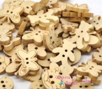 Wholesale Sewing Mobile - 200 Mixed Animal Wood Sewing Buttons Scrapbooking (B13791) button profile button ford button mobile