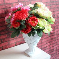 Wholesale Single Headed Peonies - 7 Heads Single Flower New Arrival Fabric Peony Artificial Silk Flowers For Decor Wedding Home Decoration 93-1011