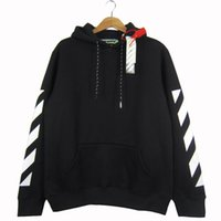 Wholesale Sweaters Hood Men - OFF WHITE 2017 Men Hoodie Sweatshirt Brand Clothes Stripes Print Hip Hop Pullover Sweater Autumn Winter Fleece Hood Jacket Coat YBG0407