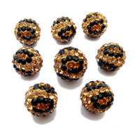 Wholesale Zebra Beads Wholesale - 10mm Leopard Zebra Pattern Shamballa Disco Balls Clay Pave Crystal Rhinestones Beads Stock for DIY Jewelry Making