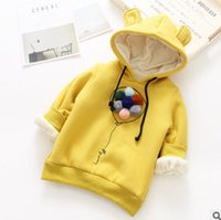 Wholesale Long Black Rabbit Ears - Kids winter sweatshirt girls colorful pompon thicken princess pullover children stereo balloon rabbit ear hooded warm jumper R0301