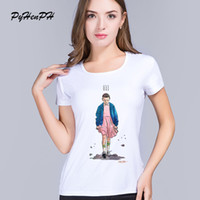 Wholesale Ladies Cotton Shirts Designs - Wholesale- PyHenPH New Arrival T shirt women Stranger Things Design Ladies t-shirts Short Sleeve tops Brand clothing Tee