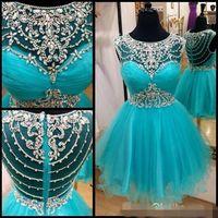 ingrosso promo blu aqua-Aque Sparkle Short Prom Dresses With Crystals Blue Summer 2019 Part Graduation Dress Sweet 16 Abiti da Homecoming