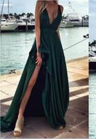 Wholesale Tank Prom Dresses - 2017 Hunter Green V neck Sexy Side Slit Evening Dresses Satin Tank Sleeveless Prom Dresses Party Gown