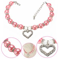 Wholesale Dog Collar Heart Charms - Cute Pet Dog Necklace Pearl Collar with Rhinestone Heart Shaped Charming Pendant Jewelry Syeer J00016