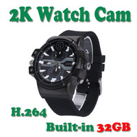 Wholesale Cameras Built Watches - Built-in 32GB HD 2K Spy Wearable Watch Camera Spy Camera Watch Mini Watch Cam
