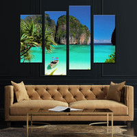 4 Combinaison d'images Blue Art Gallery Painting Ko Tao Thaïlande Small Bay Light Green Sea Water Mountain Print On Canvas