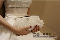 Wholesale Ivory Pearl Wedding Handbag - Free Shipping Pearls Bridal HandBag Women Purse White  Ivory Evening Clutches Women Wedding Accessories Elegant Party Prom Handbags 2016