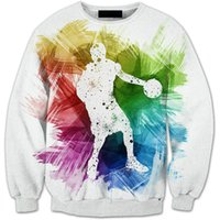 camiseta de baloncesto nueva llegada al por mayor-Nueva Llegada Otoño Invierno 3D Hombres Jugadores de Baloncesto Vellón Impreso Manga Larga Jersey Suéter Marea Marca Suéter de los hombres