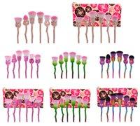novos estilos de sombra venda por atacado-Nova Rosa Flor Maquiagem Jogo de Escova Foundation Brush Eyeshadow Escova kit 6 pçs / set 11 estilos em estoque 50 conjunto