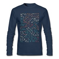 Wholesale Cool Clothes Designs - Stylish Circuit printed long tees men's cool postmodern design t-shirt winter & autumn suited man's long sleeve clothing