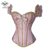 espartilho floral rosa sexy venda por atacado-Espartilho floral rosa espartilhos e bustiers corpo shaper cintura formação espartilhos Mulheres frisado sexy lingeries zíper bordado laço