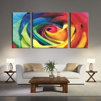 Wholesale Paint Big Flowers Modern Abstract - 3 Pieces Red Big Colorful Rose Wall Art Painting Pictures Print On Canvas Flower The Picture For Home Modern Decoration