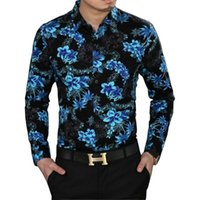Wholesale-2016 Herbst Camisa Sozial Mens Blumen Shirts Velvet Langarm Floral Mens Fashion Trendy Partei-Verein-Outfits Blusa Masculina