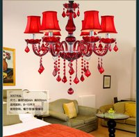 Wholesale Chinese Candle Chandelier - 6 8 candles Chinese Wedding lighting red crystal lamp chandelier Crystal hanging Lamp Red shades Coffee shop Bedroom Led bar pendant light