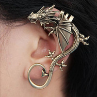Wholesale Ear Bronze Punk - 2016 Retro Vintage Black Silver Bronze Punk Temptation Metal Dragon Bite Ear Cuff Clip Wrap Earring Earrings Ear Cuff Ear Rings Ear Clips