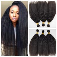Wholesale Kinky Braids Extension - Peruvian Afro Kinky Straight Human Braiding Hair Bulk No Weft Italian Coarse Yaki Bundles Crochet Hair Extensions G-EASY