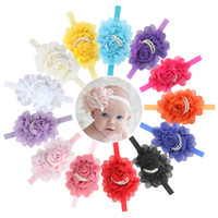 Wholesale Multi Layer Flower Headband - 13 Pcs Lovely Baby Girls Rose Flower Headband with Double Layers of Beads Photography Hairband Headwear Accessories for Infants J1287