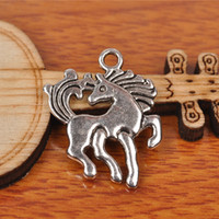 Wholesale 23 Earring - Hualu 7238 100 Pieces 23*19mm Lovely Horse Connecter Charms Tibetan Silver DIY Jewelry Pendant Making Fingding necklace Bracelet Earring