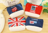 Wholesale New Vintage London Style - 2016 NEW High quality Vintage London canvas Coin purse key holder wallet hasp small Christmas gifts bag clutch handbag