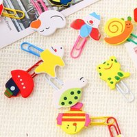 Wholesale Cute Shaped Paper Clips - Lovely 100pcs lot Wooden Animals Shape Bookmarks Colored Paper Clip Cartoon Book Marks Cute Prize Gifts Papelaria