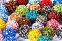 12mm 100pcs / lot mélangé multi-couleurs Cristal Shamballa Perle Bracelet Collier Perles bijoux faisant.Hot spacer perles Lot! Rhinestone r2452