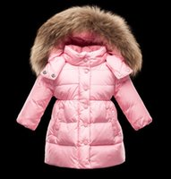 Wholesale Girl Long Pink Fur Coat - 2 colours Girls down coats with fur hoody MO ENFANT JUSTIN down jackets children down coats