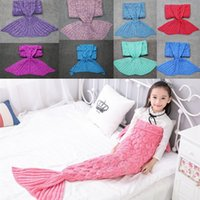 Wholesale Red Carpet Kids - Mermaid Tail Blanket Sleeping Bag 140* 70cm Kids Knitting Sofa Blankets Handmade Crochet Carpet Soft Baby Swaddling