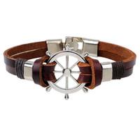 pulsera de timon al por mayor-Pulsera de cordón de cuero para los hombres Retro Hipe cuerda Timón Ancla Charm Bracelet Brazaletes masculinos al por mayor
