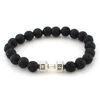 Wholesale Matte Agate - Men Women Lava Rock Matte Agate Beads Charka Bracelet Black Healing Energy Stone Gemstone Bracelet[GE02310]
