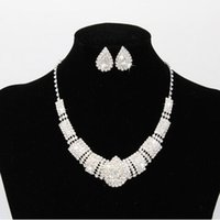 Wholesale Tear Drop Statement Necklace - 925 Silver Plated Bridal Jewelry Set Angle Tear Rhinestone Crystal Necklace Earrings for Bridal Wedding Statement Jewellery JS-8605