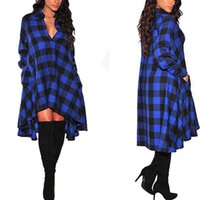 Wholesale Button Down Shirts For Women - New 2017 Long Plaid Shirt Dress Long Sleeve Women Turn Down Collar Casual Irregular Dresses for Summer Loose Dress Plus Size