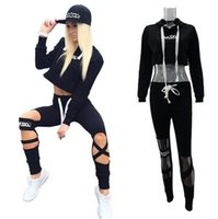 Wholesale Hot Girls Sexy American - hot sale girl casual tracksuits Europe American style hooded sweatshirt sexy crop top cut out pant